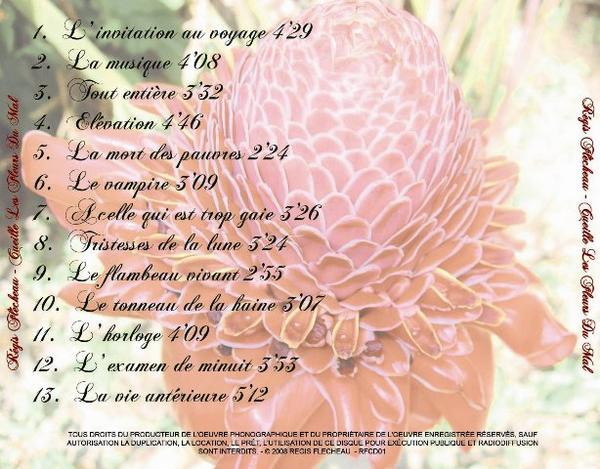 Titres de l`album `Cueille les Fleurs du Mal`